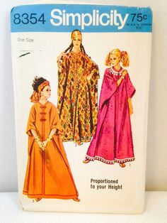 Uncut - Pattern and instructions are in perfect condition- the packaging is a wrinkled Simplicity Sewing Pattern from 1969- 8354 Hawaiian Hostess Dress or craftan that can be proportioned in height. Thanks for visiting my shop! Most US shipping is 3.60 for the first item and free for any additional purchases