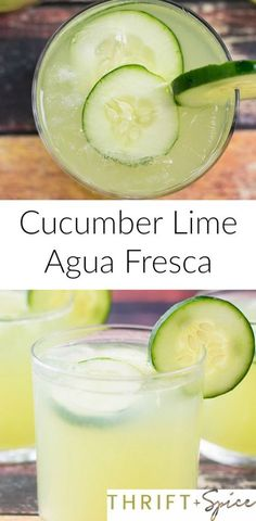 cucumber lime agua fresca is the most refreshing beverage you will ever try! It is perfect for the summer time and for cinco de mayo of course! Make a simple syrup with the sugar before adding it to the drink Lime Drinks, Refreshing Drinks, Summer Drinks, Cocktail Drinks, Fun Drinks, Healthy Drinks, Cocktails, Beverages, Cold Drinks