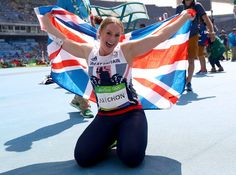 Sophie Hitchon of Great Britain celebrates placing third in the Women's Hammer…