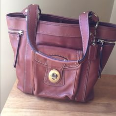 coach legacy leather tote whiskey authentic 100 genuine leather in a