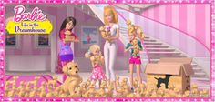 Barbie and sis with Taffy the dog