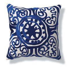 Trina Turk Lapis Rustic Medallion Embroidered Pillow