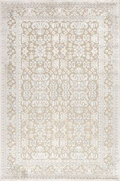 Bring charming appeal to your den or define areas in the living room with this chenille and art silk rug, showcasing a stunning damask-inspired motif and lustrous finish. White Rug, White Area Rug, Ivory White, Cream White, White Wood, Oriental Pattern, Oriental Rug, Chinoiserie, Regal Design