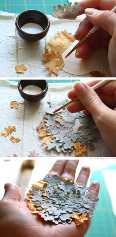 Assembling paper lichens - Rock Wall Accordion Book Part 3 by Ruth Bleakley