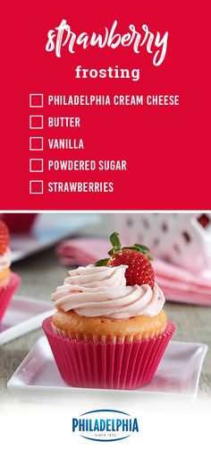 Strawberry Frosting – Make frosting with fresh berries with the help of this homemade frosting recipe. Whether you choose to top cupcakes, decorate cakes, or incorporate it into your next dessert creation, you can bet it'll be a success. Strawberry Frosting Recipes, Homemade Frosting Recipes, Strawberry Cream Cheese Frosting, Cupcake Recipes, Cupcake Cakes, Dessert Recipes, Icing Recipes, Strawberry Desserts, Just Desserts