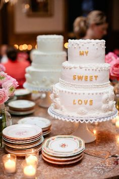 This couple used mismatched china plates for cake, and a beautiful ruffled hobnail milk glass cake stand (just like the one we have in our inventory!)