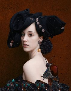 GIARDINO DI ARTE, Tina Cassatti  Based in Germany. She makes COSTUMES (sculpture le mode), ruffs, hats-, bags- and shoes-, jewelry objects  into modern surreale digital-photo-art worlds and illustrations.   She paints, sews, draws, photographs (mixed media,collage, illustration). She does not care about genres. Her work is influenced by Renaissance, Baroque, fairy tales. To her, fashion is fine art.