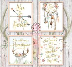 She is Fierce She Will Move Mountains Boho Bohemian Watercolor Gold Floral Nursery Baby Girl Room Set Lot 4 Prints Printable Print Wall Art Decor Print