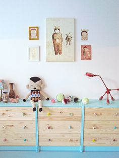 Ikea hack in a kids room (replace dresser knobs and paint top and sides with bright paint)