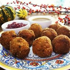 """Deep-Fried Stuffing   """"If you thought leftover Thanksgiving stuffing was boring, this dish will change your mind! Any kind of stuffing (sausage, oyster, corn bread, or any variety of boxed) can be used. Heat up some gravy and bring on the cranberry sauce."""""""