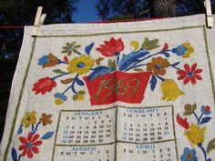 Vintage 1969 Linen Calendar Tea Towel  by NopalitoVintageMore, $15.00