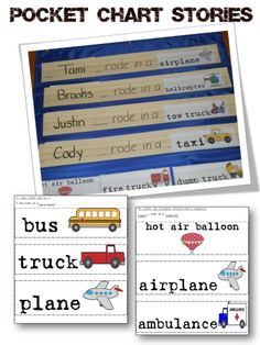 Transportation Pocket Chart Stories for the whole class.