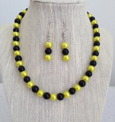 Yellow and Black NecklaceYellow Pearl by CherishedJewelryCo, $24.00