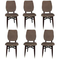 Set 6 French Art Deco Solid Mahogany Dining Chairs | Modernism