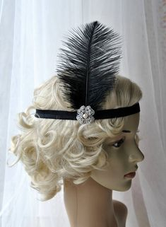 Black Flapper Feather Headband, The Great Gatsby headpiece, 1920s Flapper rhinestone Headband, Vintage Inspired, Feather, Art Deco headband