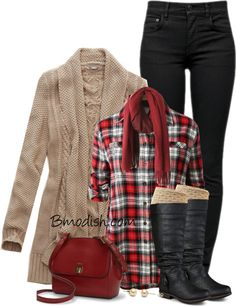 plaid shirt cream cardigan and riding boots fall outfit bmodish