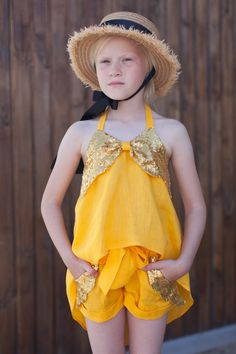 Yellow linen with sequin outfit for girl Kids Sleeveless