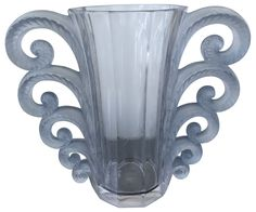 """1069 Lalique """"Beauvais"""" Frosted Blue Glass Vase, No. 1069, designed in 1931, France, executed post 1945"""