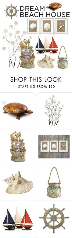 """Sea Shell"" by fairypuff ❤ liked on Polyvore featuring interior, interiors, interior design, home, home decor, interior decorating, Fountain, Pier 1 Imports, Home Decorators Collection and Adeco"