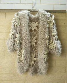 crochet flower sweater cardigan Measurement: Bust: M Length: 20 Sleeeve: 9 Crocheted with arcylic yarn, hand wash cool, roll Crochet Jacket, Crochet Cardigan, Crochet Shawl, Knit Crochet, Unique Crochet, Beautiful Crochet, Sweater And Shorts, Sweater Cardigan, Moda Crochet