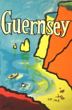 Guernsey, 1956 - original vintage poster by Suslak listed on AntikBar.co.uk