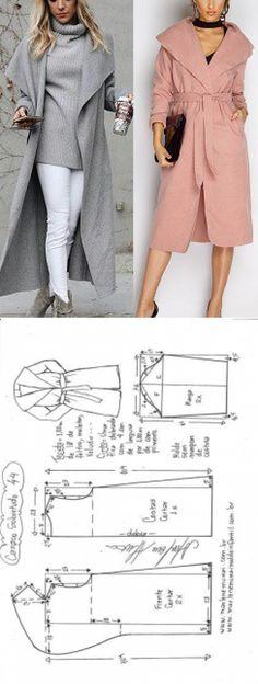 Casaco sobretudo gola inteira | DIY - molde, corte e costura - Marlene Mukai
