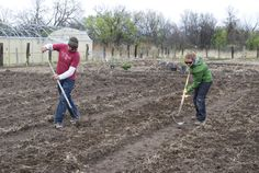 Volunteers help prepare the soil on Solar Warrior Farm at the Red Cloud Renewable Energy Center.
