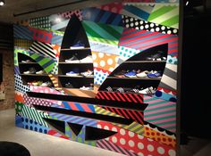 """SPACE NINETY 8 NYC,""ADIDAS ""basement feature wall"", pinned by Ton van der Veer"