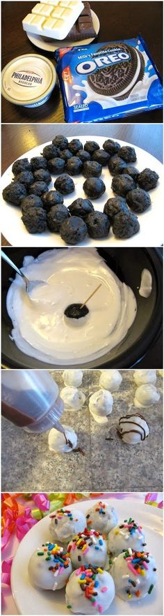 Recetas para hacer postres con galletas Oreo How To Oreo Balls: Try making with colored chocolate from AC Moore for holidays or football games!How To Oreo Balls: Try making with colored chocolate from AC Moore for holidays or football games! Just Desserts, Delicious Desserts, Dessert Recipes, Yummy Food, Oreo Desserts, Cupcakes, Cupcake Cakes, Yummy Treats, Sweet Treats