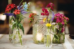 mismatched vases, flowers  candles Elegant Kiawah Island Wedding Captured by Riverland Studios - Glamour