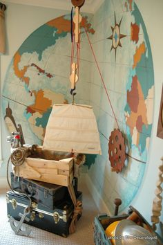 steampunk bedroom map mural