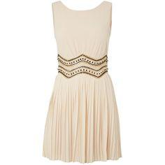 tfnc Embellished waist pleat skirt dress ($31) ❤ liked on Polyvore featuring dresses, short dresses, vestidos, robe, clearance, cream, pink mini dress, creme dresses, mini dress and pleated mini dress