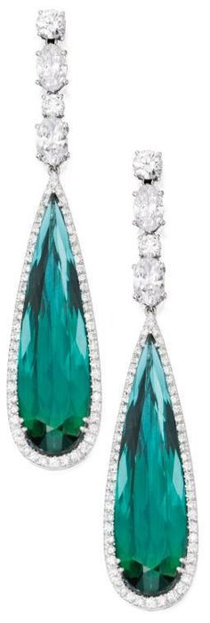 White gold, green tourmaline and diamond pendant-earrings. Set with two pear-shaped green tourmalines weighing approximately carats, framed and surmounted by numerous round diamonds weighing. Diamond Pendant, Diamond Jewelry, Diamond Earrings, Gold Jewelry, Ruby Pendant, Wedding Jewelry, I Love Jewelry, Fine Jewelry, Jewelry Design