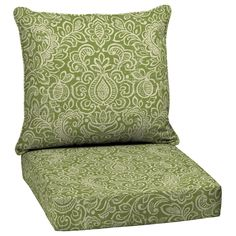 Garden Treasures Green Stencil Glenlee Green Stencil Floral Cushion For Deep Seat Chair $49.98 Z