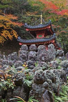 Rakan Sculptures, Otagi Nenbutsuji Temple, Kyoto, Japan   Russ David, on Flickr. Otagi Nenbutsu-ji is a Buddhist temple in the Arashiyama neighborhood of Kyoto, Japan. Otagi Nenbutsu-ji was founded by Empress Shōtoku in the middle of the eighth century.