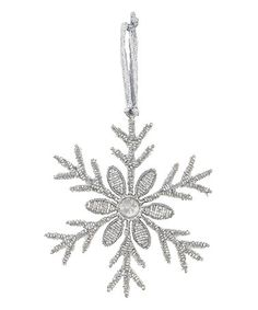 Another great find on #zulily! Silver Glass Daisy Center Snowflake Ornament #zulilyfinds