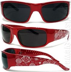 Red Paisley Bandana Sunglasses Super Dark OG LOC Style $7.00 for one- including shipping.