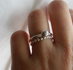 Sterling Silver Beaded ring set