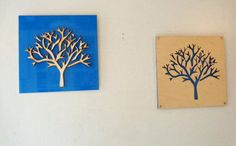 2 Plywood/Recycled Aluminum Trees in Sky Blue by mannmadedesigns