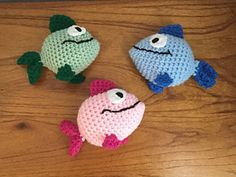 """When you finish crocheting this cute fish (inspired by the TV show """"Peep and the Big Wide World""""), the fish will be about 4.5"""" x 5.5""""."""