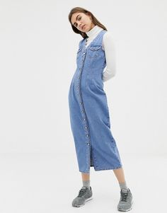 e1993c5a4c9 ASOS DESIGN denim button through sleeveless midi dress Midi Dresses