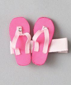 Loving this Pink Flip-Flop Hair Clip on Ribbon Hair Clips, Hair Ribbons, Hair Barrettes, Ribbon Bows, Hairbows, Headbands, Headband Hairstyles, Diy Hairstyles, Pretty Hairstyles