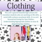 This unit is geared towards high school and transition students who are working on life skills, social skills and pre-vocational skills. It is a unit focused on Caring For Your Clothes, Understanding Appropriate Clothes to wear & Organizing Your Clothes.  I used this unit for my students on the autism spectrum and it was VERY effective and engaging. This would also work for students in a life skills/basic skills program or with other moderate disabilities.