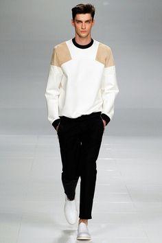 Iceberg, SS 2014, manswear, black and white minimalist outfit, geometric sweater