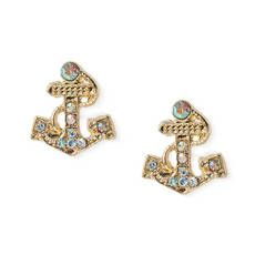 Aurora Borealis Crystal Anchor Stud Earrings
