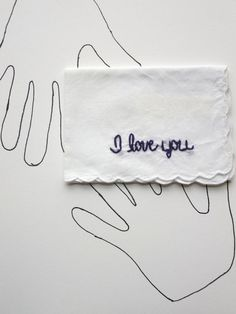 Embroidered I Love You Handkerchief by wrenbirdarts Gift for Anniversaries, Fathers Day, Weddings, Long Distance Love
