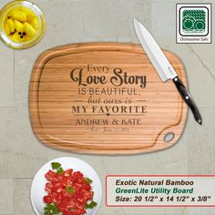 Personalized Extra Large Bamboo Cutting Board - Design 53