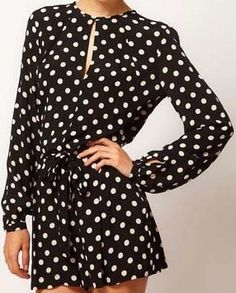 Long Sleeve Polka Dot Back Split