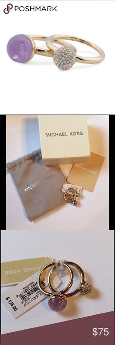 Michael Kors Double Stackable Rings NWT Michael Kors Double Stackable Ball Rings. Crystal Pave, Gold-Tone New with tag, pouch & box Michael Kors Jewelry Rings