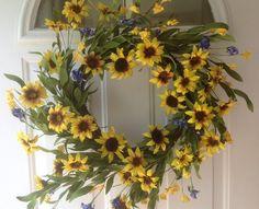 Summer Door Wreaths, Wreaths For Front Door, Sunflower Fields, Floral Wreath, Doors, Sunflowers, Crafts, Amazon, Drinks